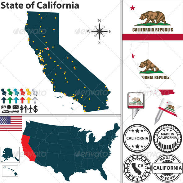 Map of State California, USA - Travel Conceptual