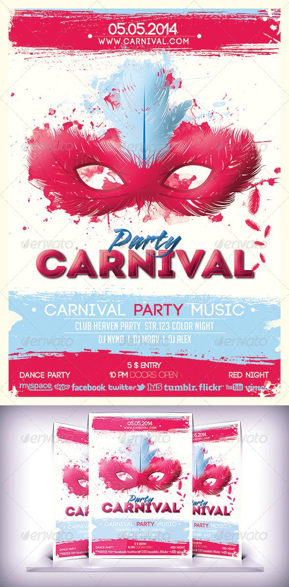 Cartoon Carnival Party - Flyers Print Templates