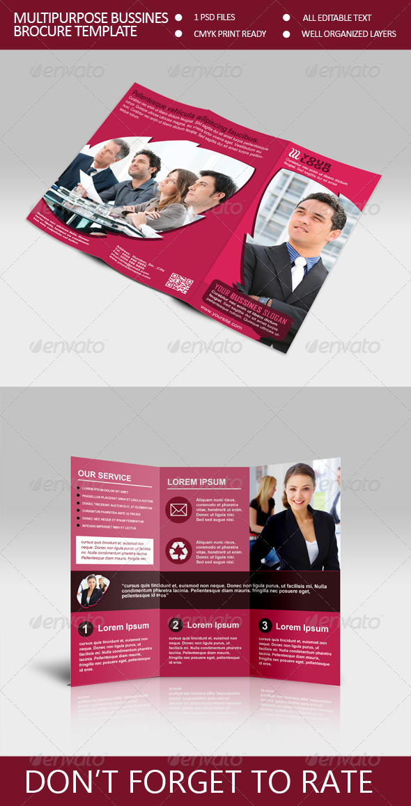 Multiporpuse Bussines Trifold Brocure Template - Corporate Brochures