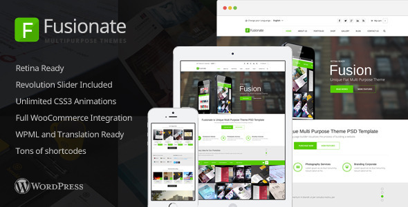 Fusionate – Retina Multi-Purpose WordPress Theme