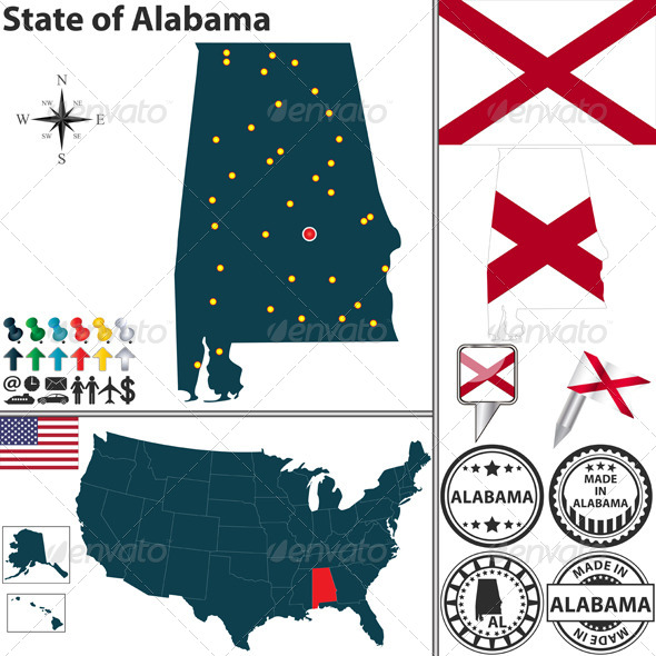 Map of State Alabama USA - Travel Conceptual