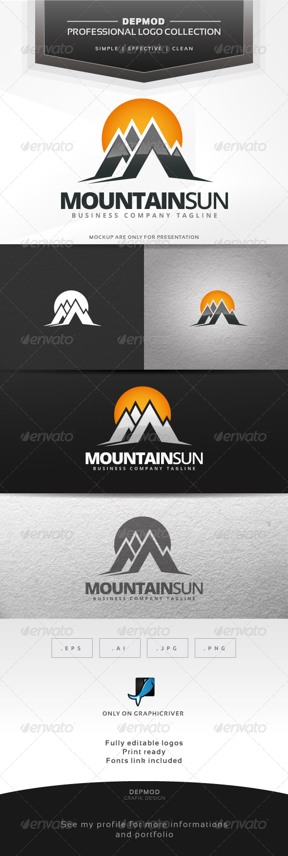 Mountain Sun Logo - Symbols Logo Templates