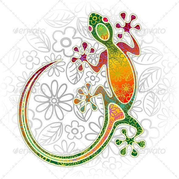 Gecko Floral Tribal Art - Animals Characters