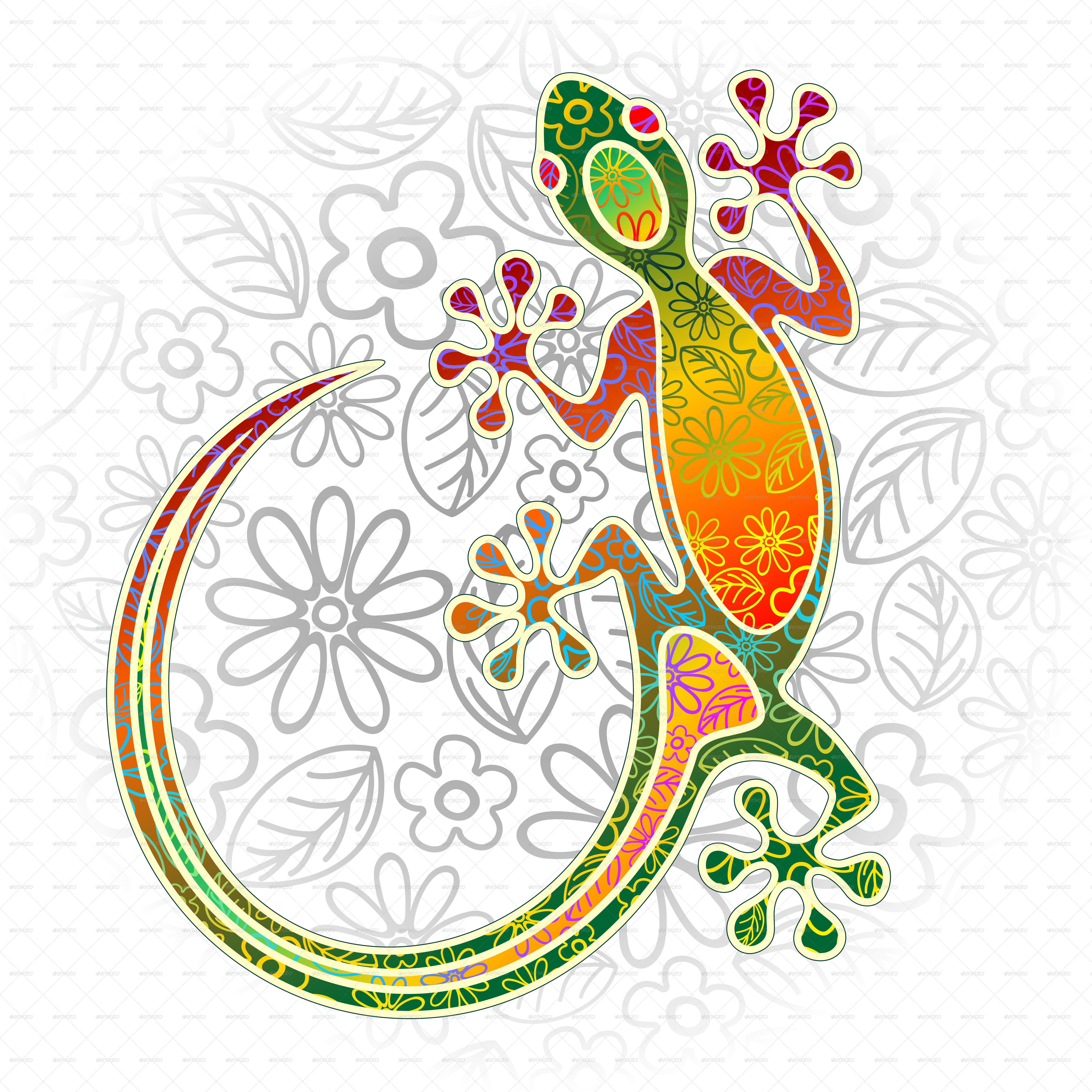 Gecko Floral Tribal Art By Bluedarkat