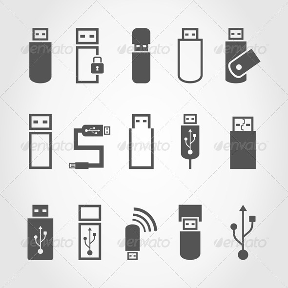 USB Icons - Computers Technology