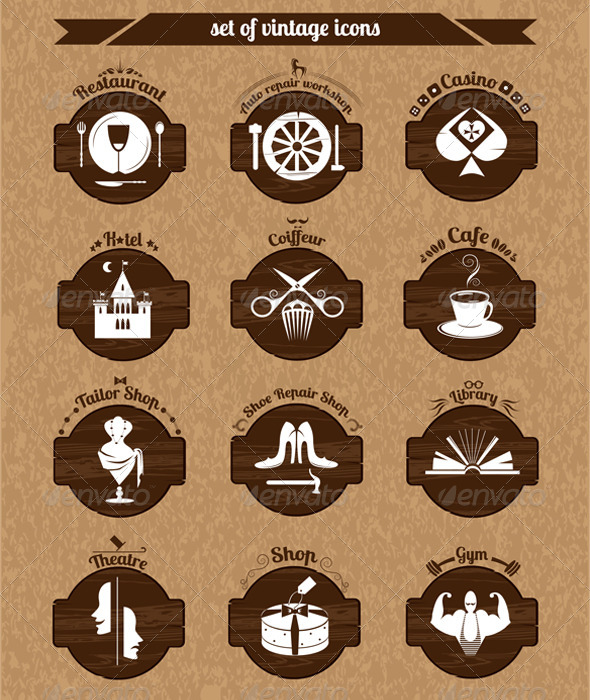 Set of Vintage Icons - Buildings Objects