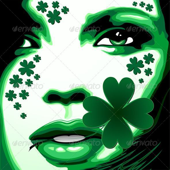 St Patrick Girl with Shamrock on Lips - Miscellaneous Seasons/Holidays