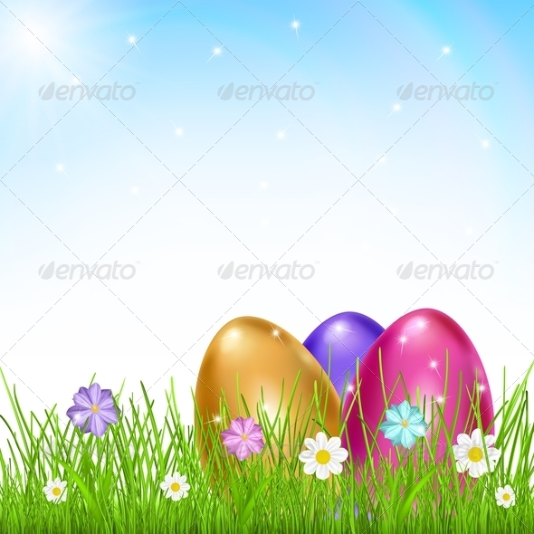 Three Multicolored Eggs in Grass with Flowers - Miscellaneous Seasons/Holidays