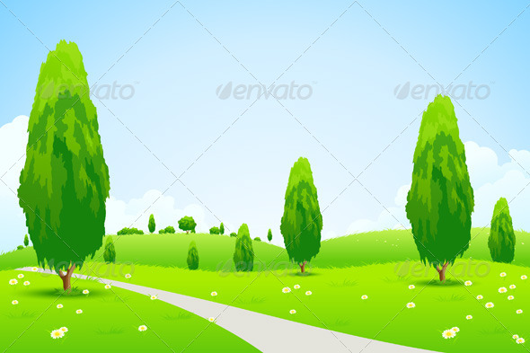 Green Landscape with  Trees - Landscapes Nature
