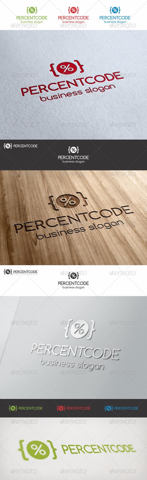 Percent Code Logo Template - Symbols Logo Templates