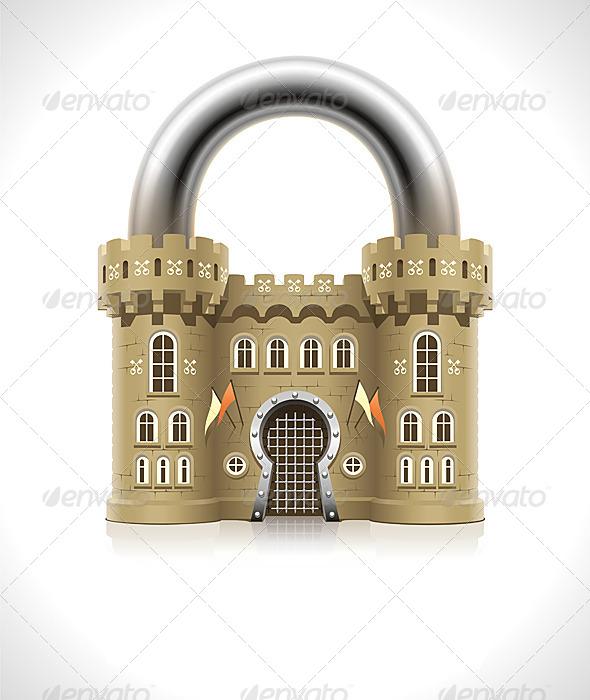 Castle Padlock - Conceptual Vectors