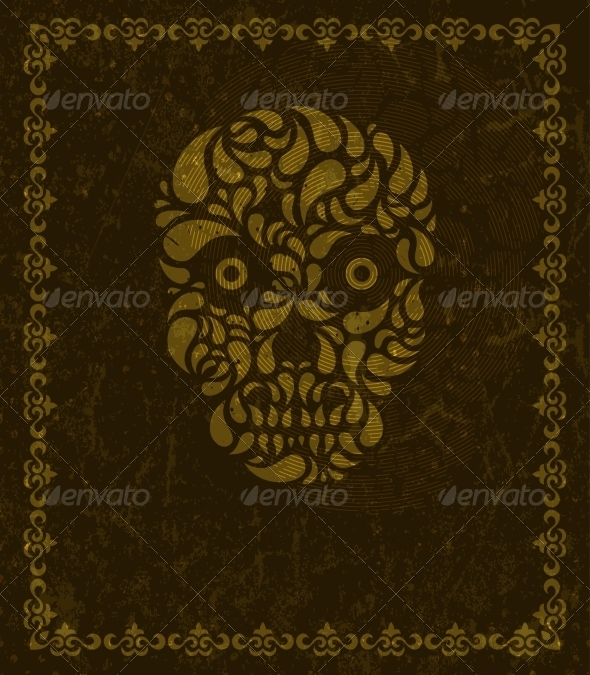 Background with Skull and Frame - Halloween Seasons/Holidays