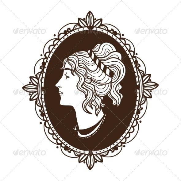 Vignette Frame with Woman Profile - Miscellaneous Vectors