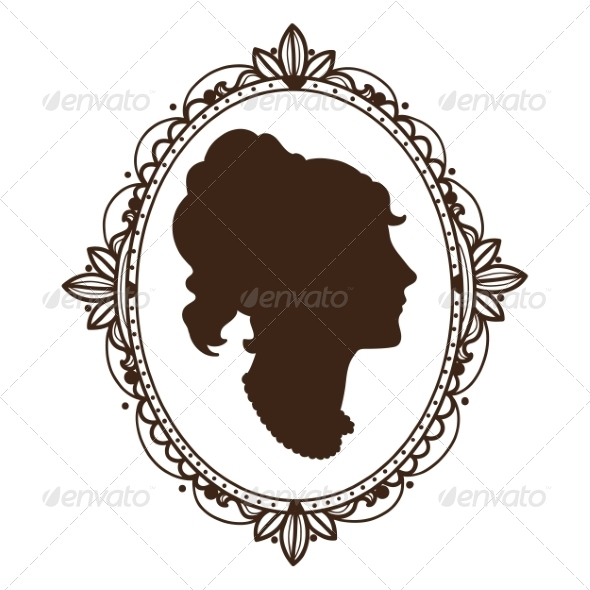 Vignette Frame with Woman Profile - Miscellaneous Vectors