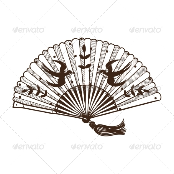 Lady's Fan with Pattern - Miscellaneous Vectors