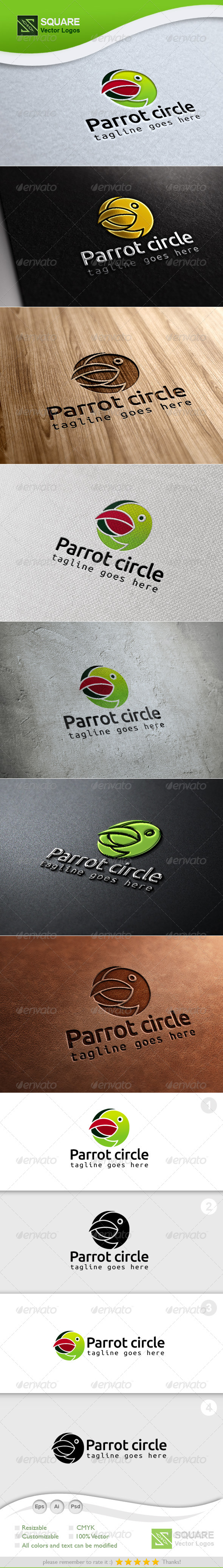Parrot, Circle Vector Logo Template - Animals Logo Templates