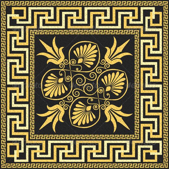 Traditional Vintage Gold Greek Ornament  - Patterns Decorative