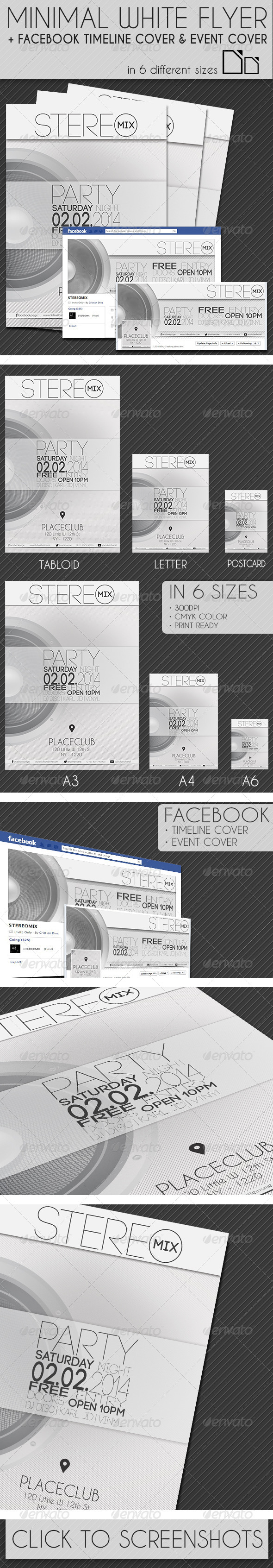 Minimal White Flyer in 6 Size + Facebook Covers - Clubs & Parties Events