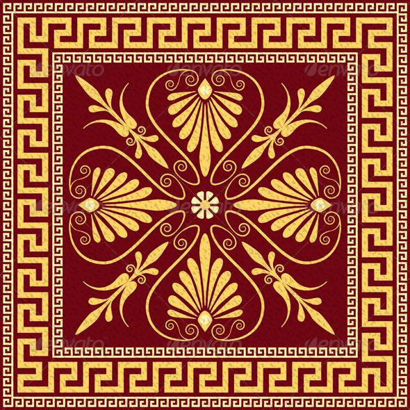 Vector Traditional Vintage Gold Greek Ornament  - Patterns Decorative