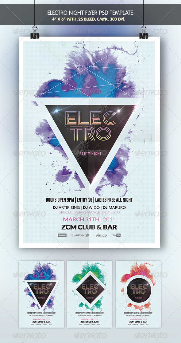 Electro Night | Party Flyer - Clubs & Parties Events
