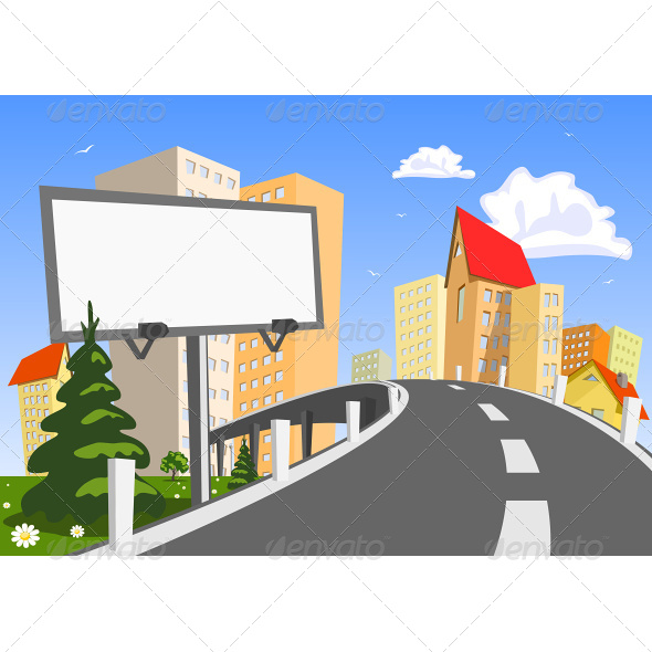 Vector City with Billboard - Buildings Objects