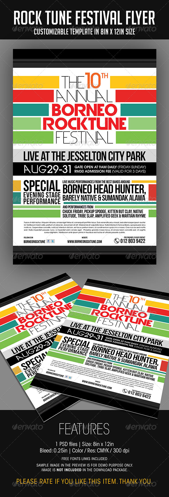 Rock Tune Festival Flyer - Concerts Events