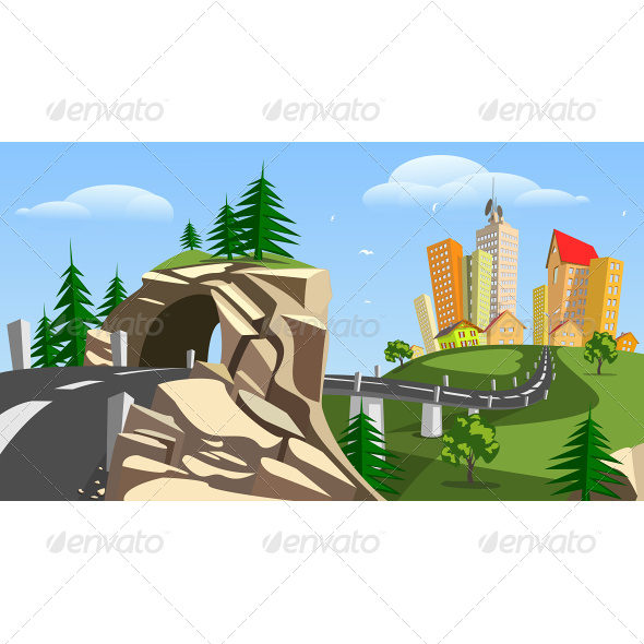 Vector City Surrounded by Nature Landscape - Buildings Objects