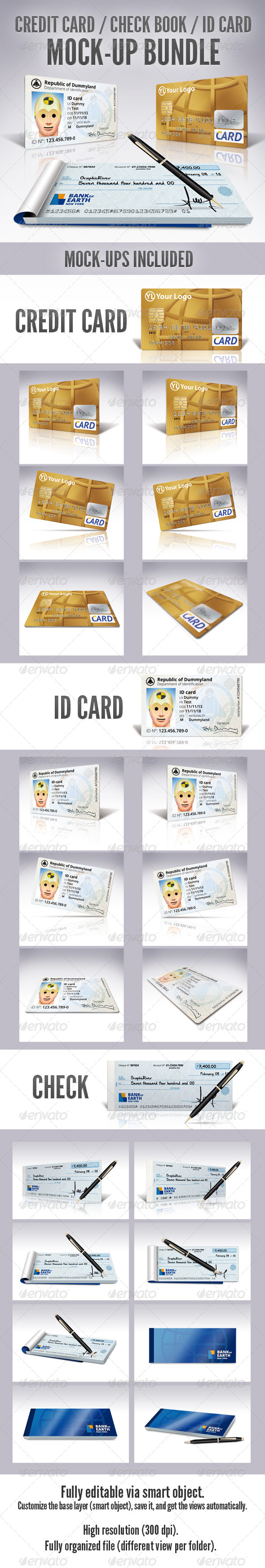 Credit Card / Check Book / ID Mockup Bundle - Miscellaneous Print