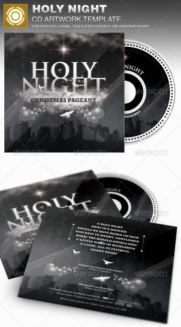 Holy Night Christmas CD Artwork Template - CD & DVD Artwork Print Templates