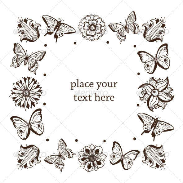 Butterflies Frame. - Borders Decorative