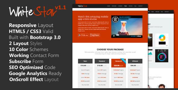 WhiteStar – Responsive HTML5 Landing Page