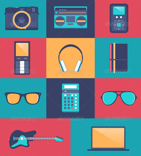Hipster Accessory Kit - Flat Icons - Technology Conceptual