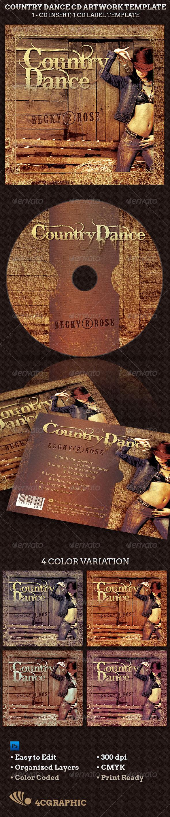 Country Dance Music CD Artwork Template  - CD & DVD Artwork Print Templates