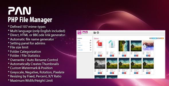 PAN PHP File Manager - CodeCanyon Item for Sale