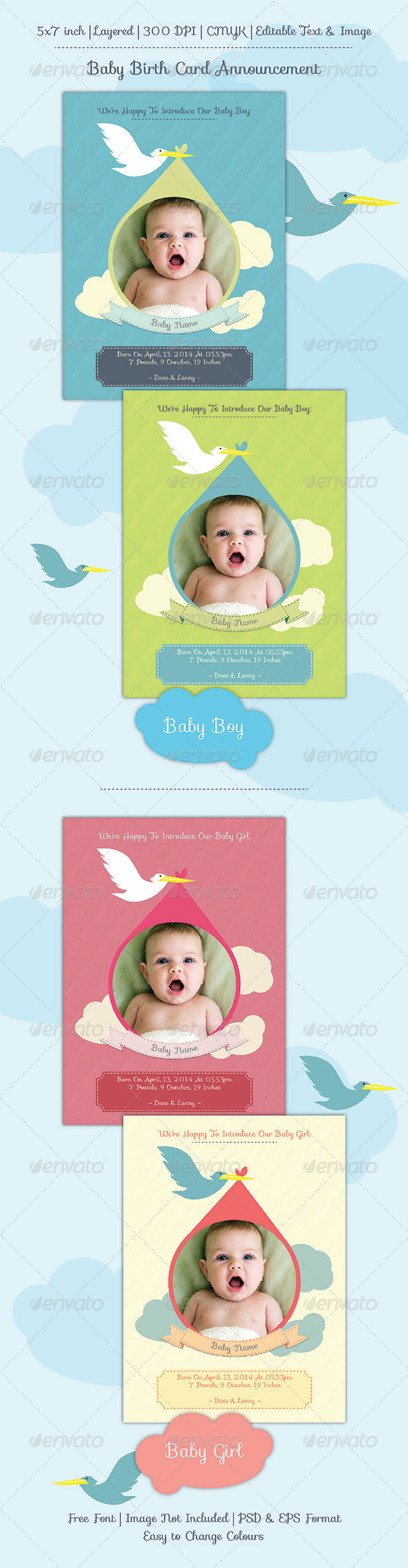 Baby Birth Announcement Card by apriliapratama – Baby Birth Invitation Card
