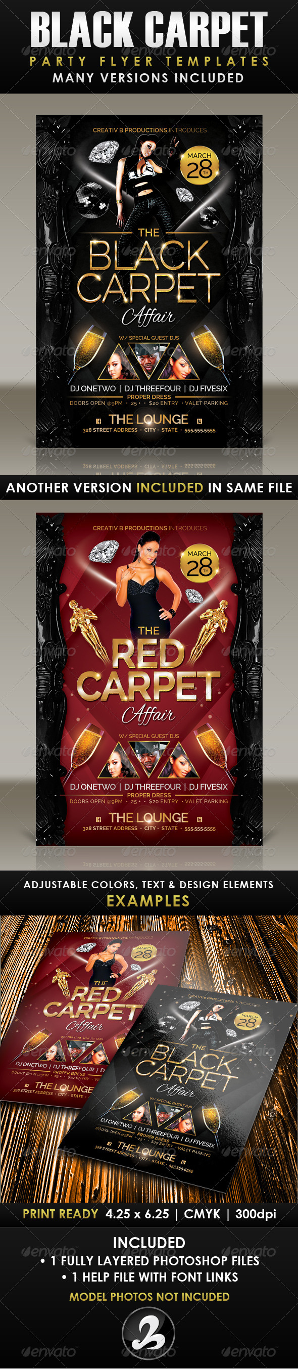 Black Carpet Party Flyer Template - Clubs & Parties Events