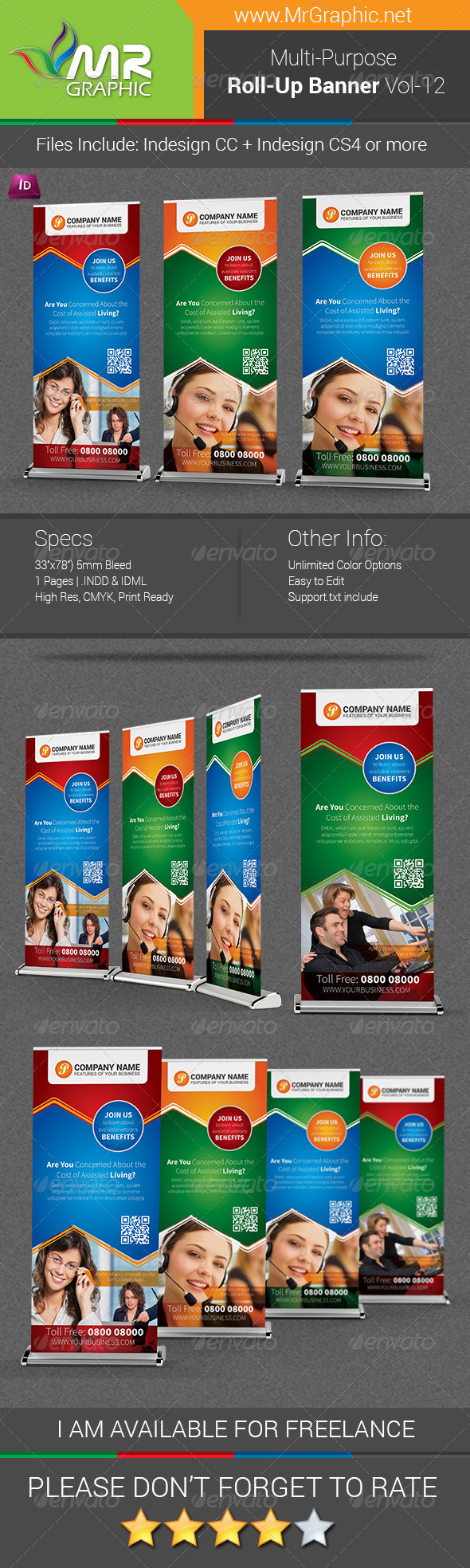 Multipurpose Business Roll-Up Banner Vol-12 - Signage Print Templates