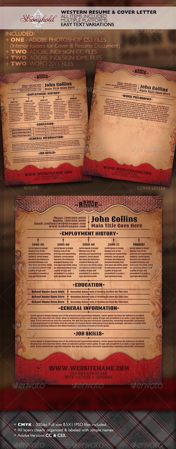 Western Style Resume Template - Resumes Stationery
