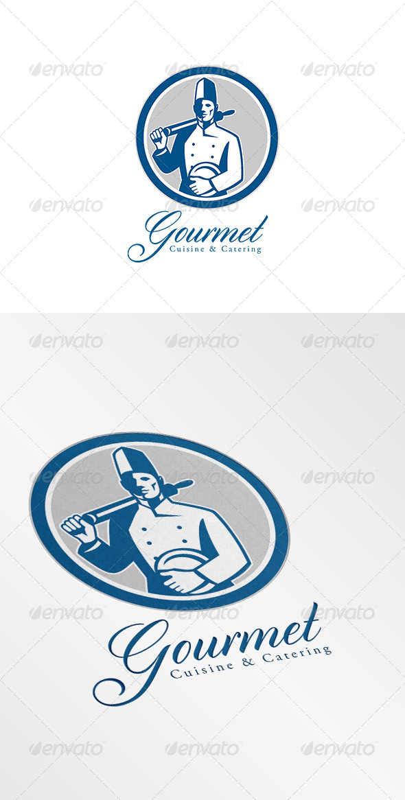 Gourmet Cuisine and Catering Logo Retro - Humans Logo Templates