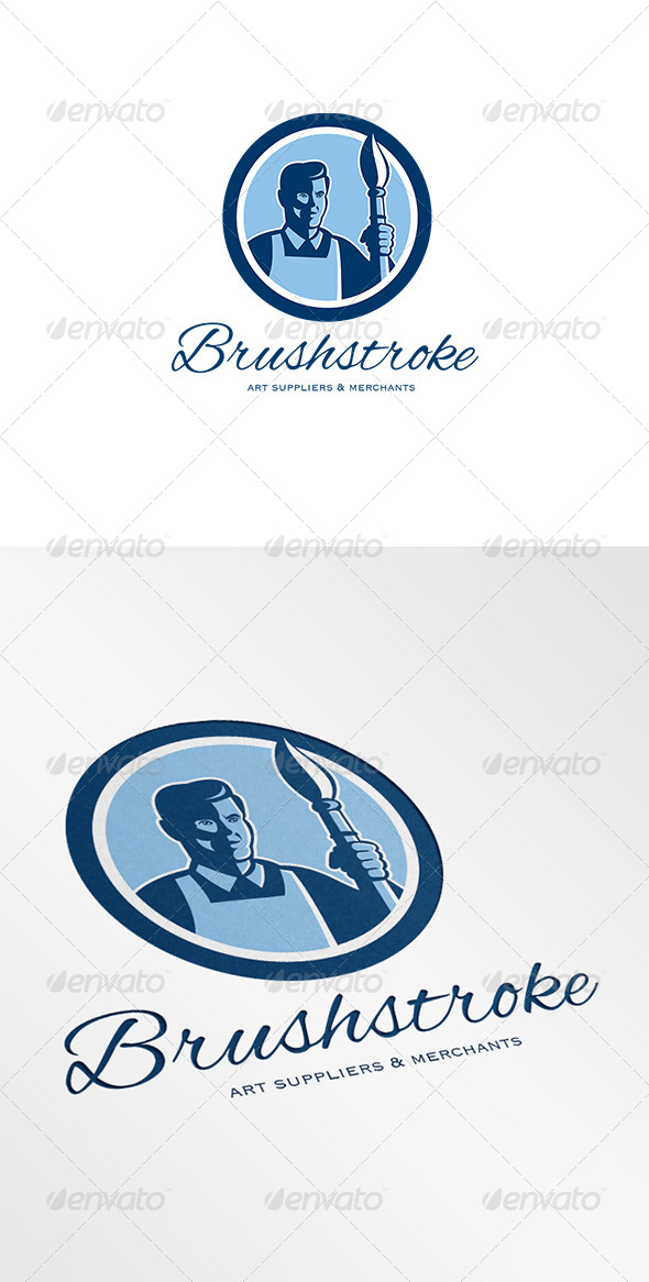 Brushstroke Art Suppliers and Merchants Logo - Humans Logo Templates