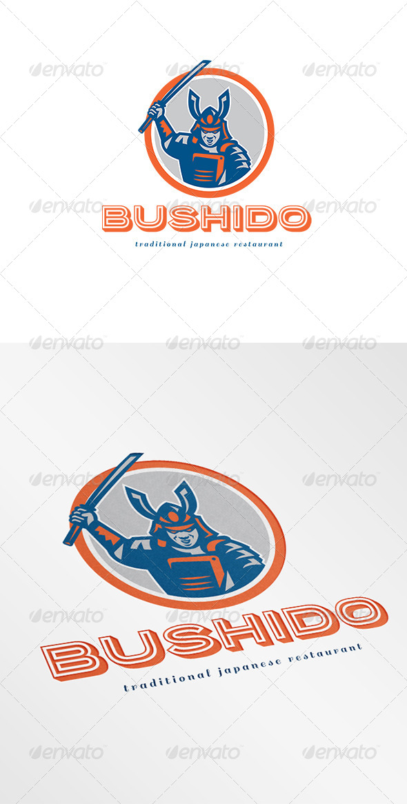 Bushido Traditional Japanese Restaurant Logo - Humans Logo Templates
