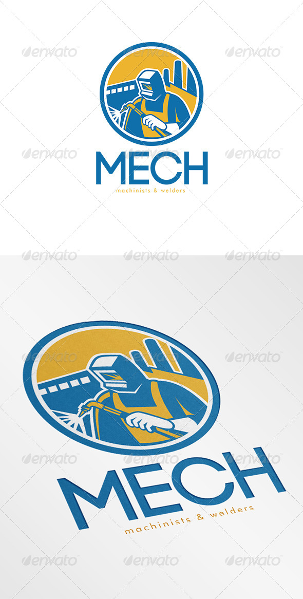 Mech Machinist and Welder Fabricator Logo - Humans Logo Templates