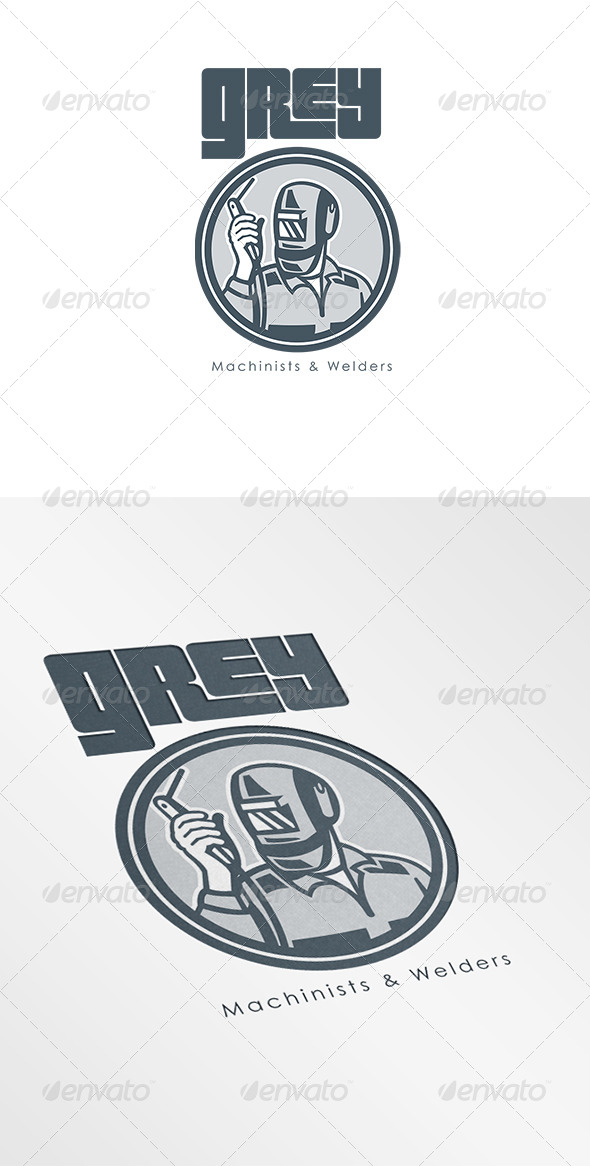 Grey Machinist and Welder Logo - Humans Logo Templates