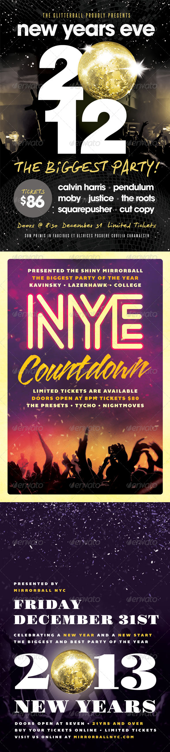 New Years Eve Flyers Bundle - Volume One - Clubs & Parties Events