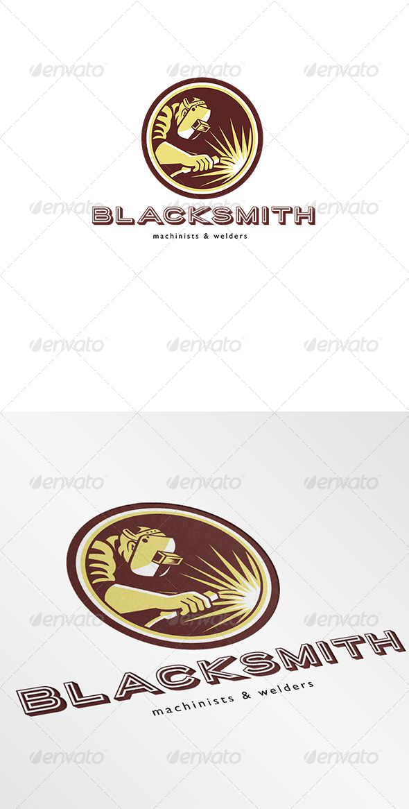 Blacksmith Welder Fabricator Welding Logo - Humans Logo Templates