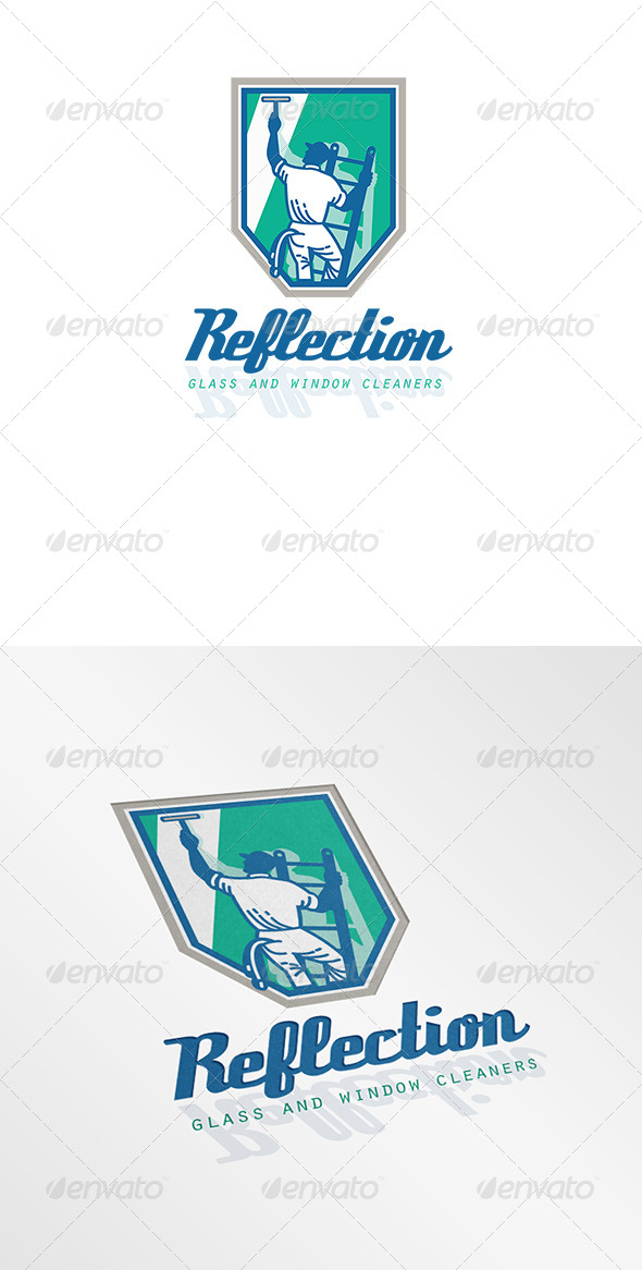 Reflection Glass and Window Cleaner Logo - Humans Logo Templates