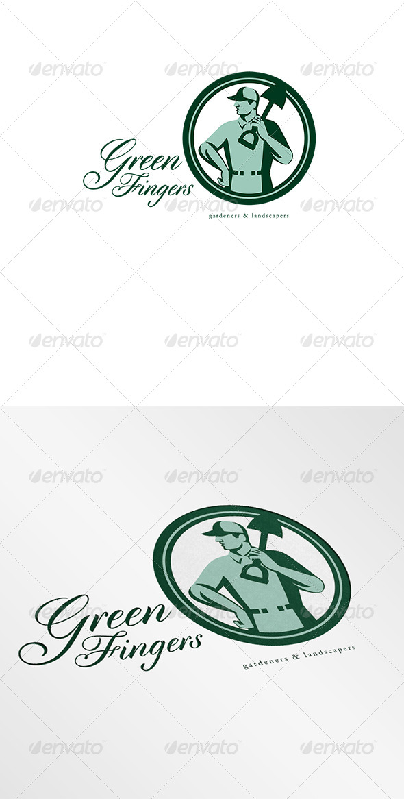 Green Fingers Gardener Landscaper Logo - Humans Logo Templates