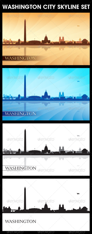 Washington City Skyline Silhouettes Set - Backgrounds Decorative