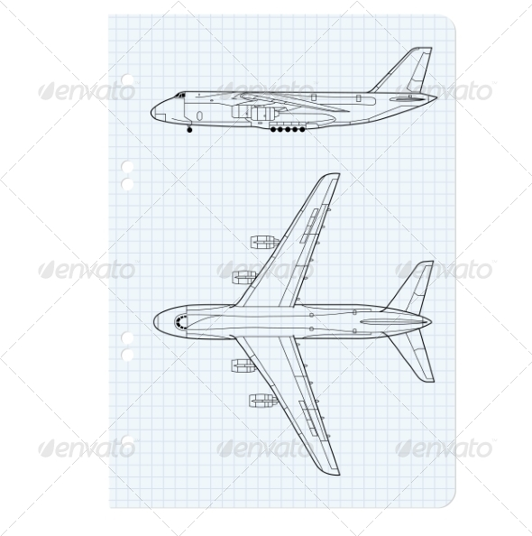 Airplane Drawing - Web Elements Vectors