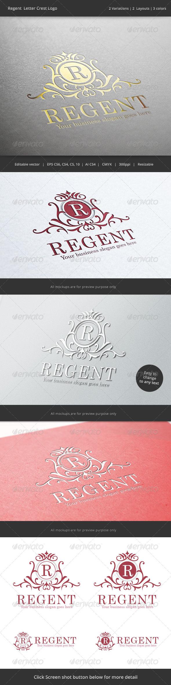 Regent  Letter Crest Logo - Crests Logo Templates